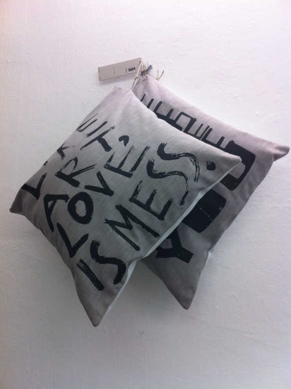 Conteporary printed cushion in Printa design shop in Budapest