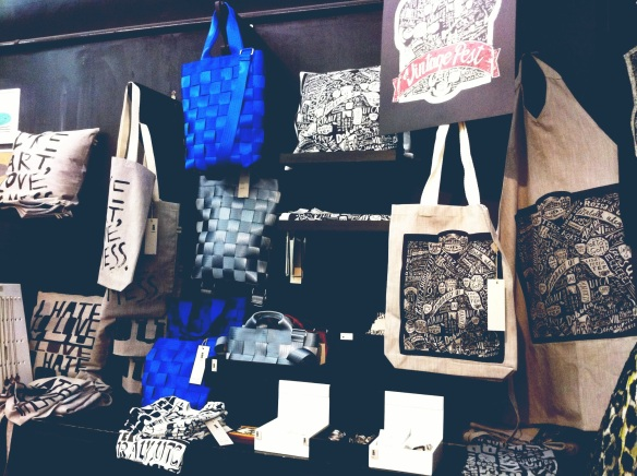 Bags made of seat belts in Printa design shop Budapest