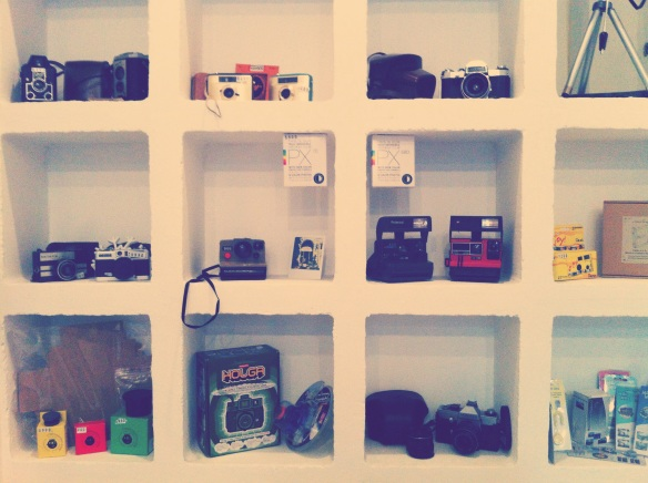 Lomography cameras in cafe analog in Budapest