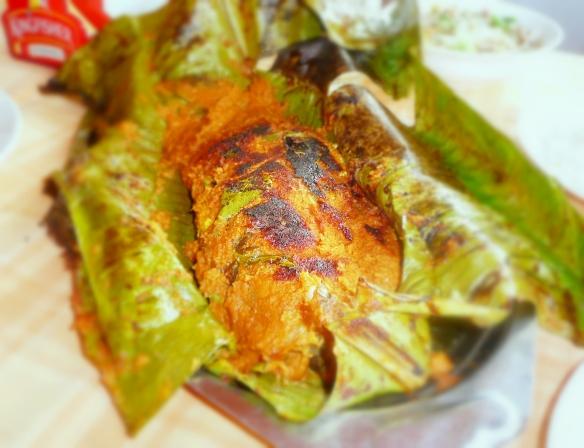 Kerala fish in Banana leaf