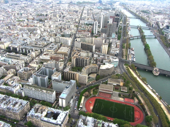 Paris and Seine from above