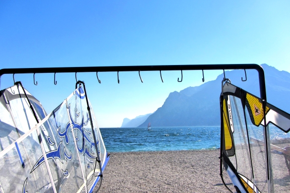 Torbole windsurf with landscape