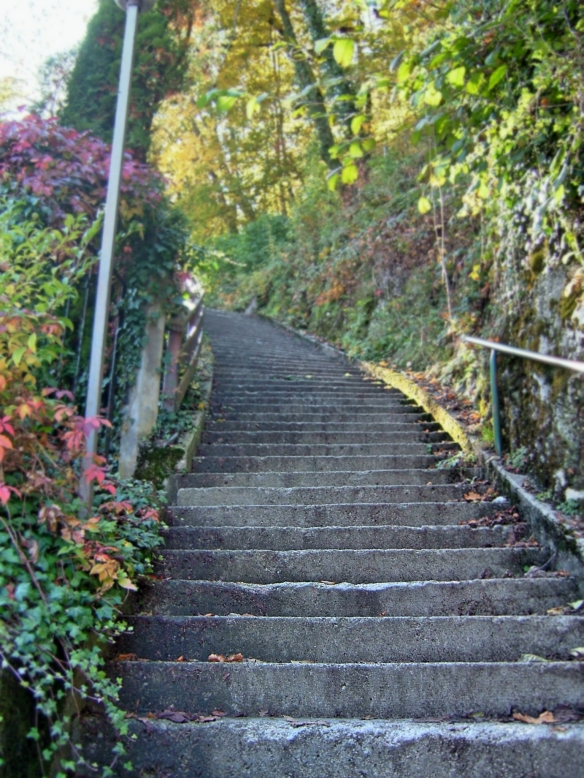 Stairs up to mountain