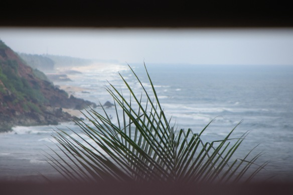 Varkala view between bamboo poles