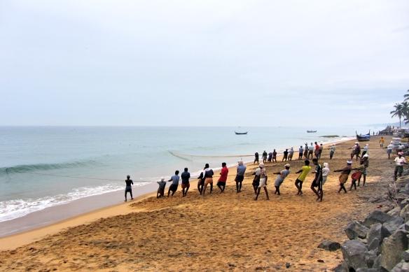 Fishermen pulling net Kovalam Samudra beach Kerala India