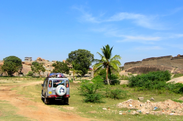 Adventurous hippie four wheel car Hampi India