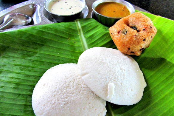 Idly and vada on Banana leaf South India Bangalore