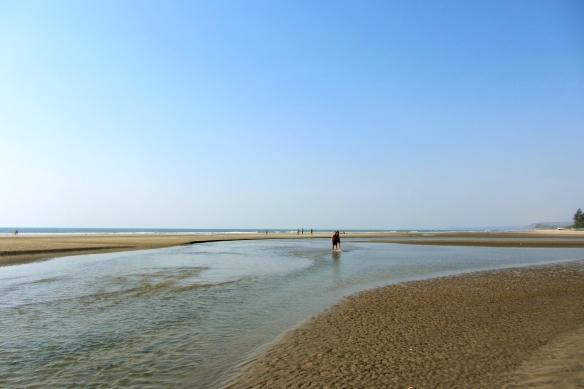 Mandrem beach high tide Goa India