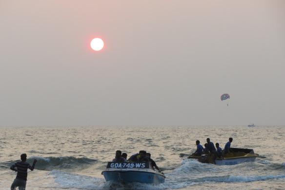 Vagator beach sunset waterspout Goa India