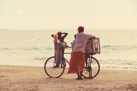 Kovalam bicycle beach vendor Kerala India