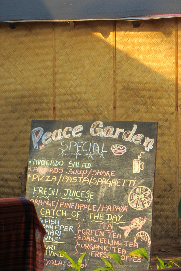 Peace garden beach hut restaurant menu canacona talpona beach south goa india